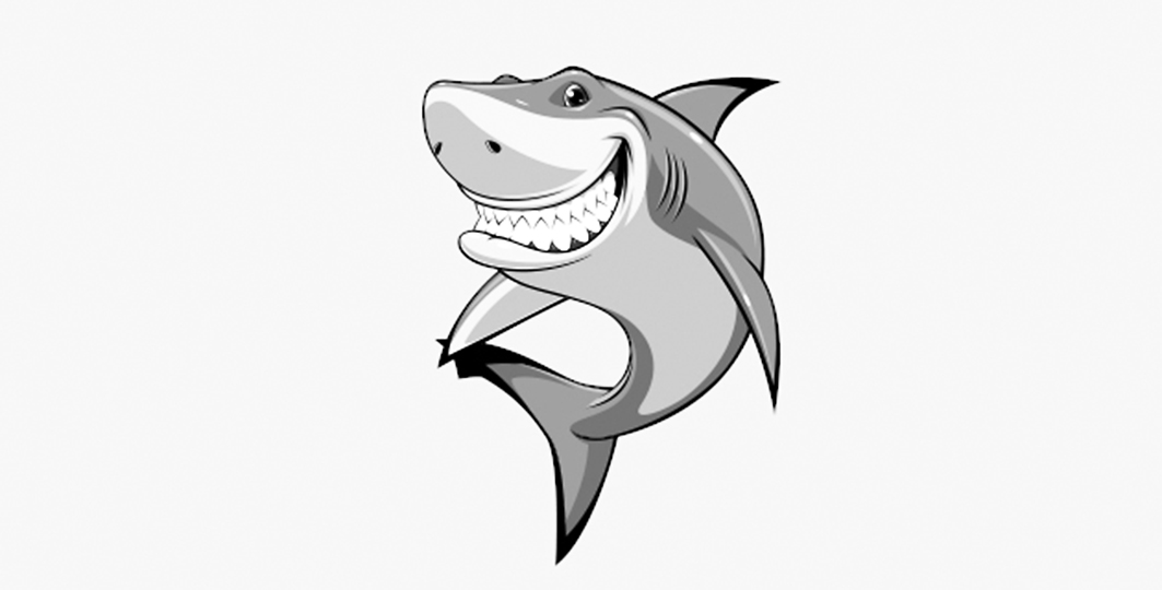 Piirroksessa iloisesti hampaat esillä virnistelevä hai.