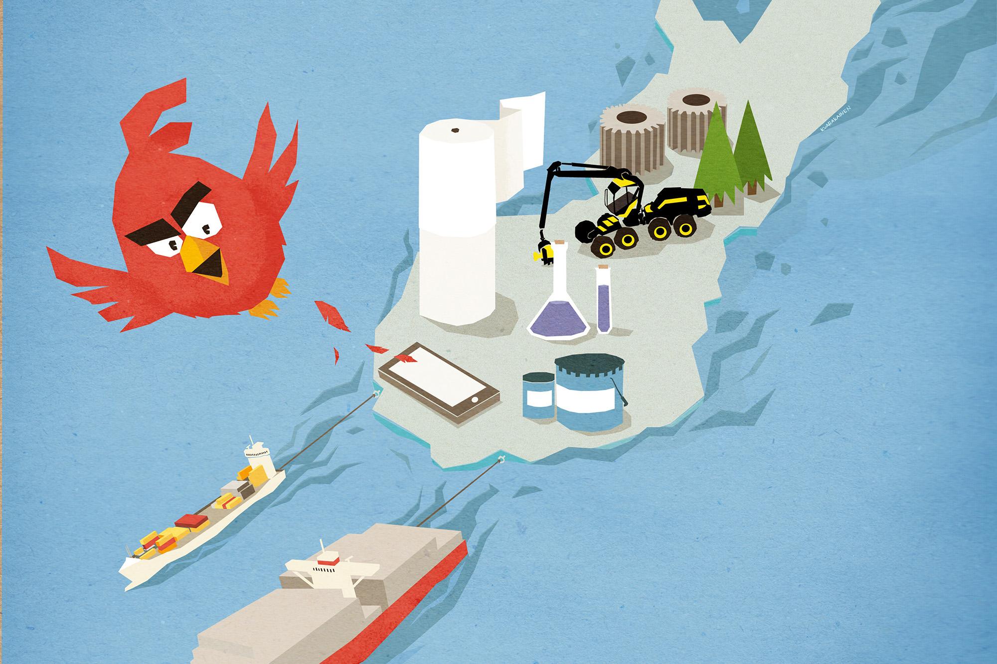 Angry Birds lentää pois Suomen kartalla