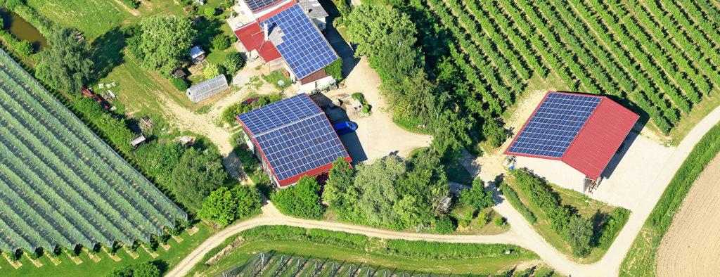 Peltomaisemassa ryhmä taloja, joiden kattoa peittää aurinkopaneelit.