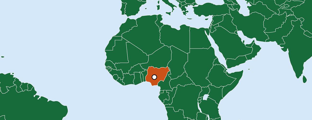 Afrikan karttaan merkitty Nigerian rajat ja pääkaupunki Abuja.