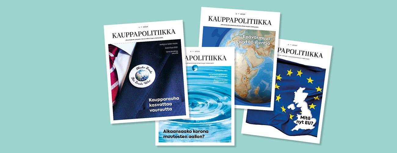 Kauppapolitiikka-lehden neljä kantta rinnakkain