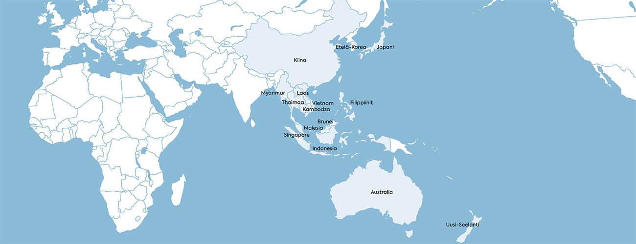 Kartassa merkittynä Aasian kauppaliittoon kuluvat maat