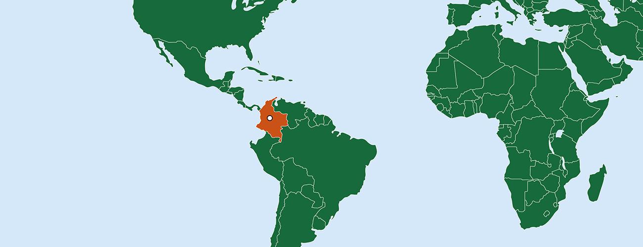Maailmankarttaan on merkitty Kolumbian valtio ja sen pääkaupunki Bogota.