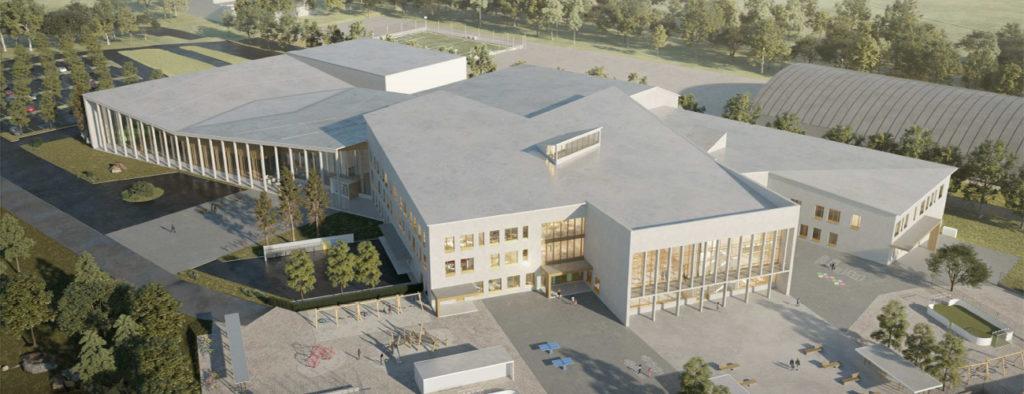 Havainnekuvassa Uuteenkaupunkiin suunniteltu koulutus- ja hyvinvointikeskus.