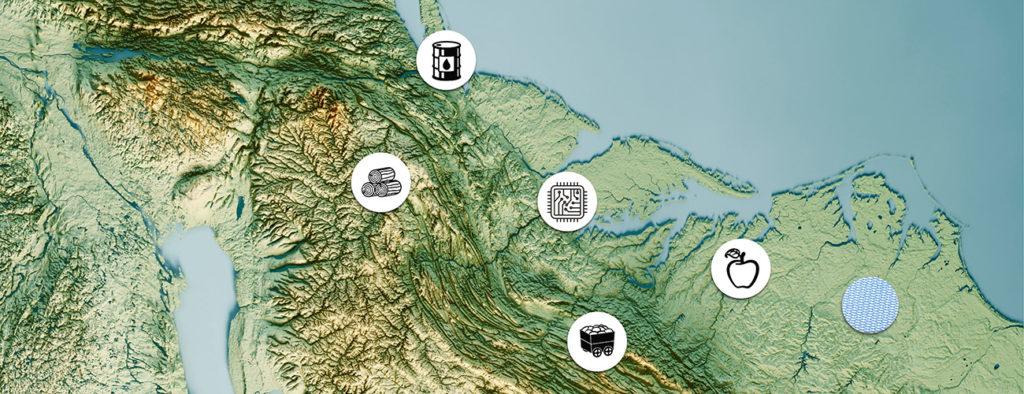Kartta, johon on sijoitettu erilaisten raaka-aineiden symboleja