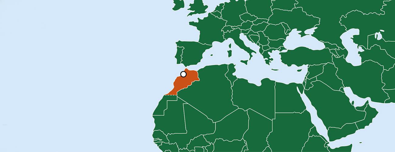 Piirretty kartta, jossa näkyy Välimeren ympäristö. Kartassa korostettuna Marokko ja sen pääkaupunki Rabat.